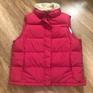 LL Bean Goose Down Puffer Vest Red XL Fur Collar